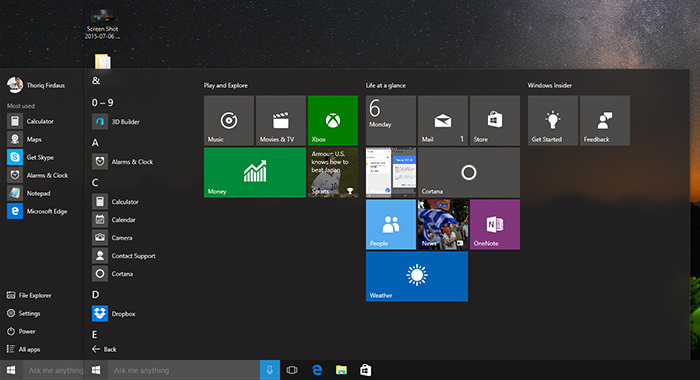 The coming novelty of Windows 10